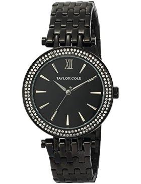 Taylor Cole Damen Armbanduhr XL Edelstahl Uhrband Schwarz TC004