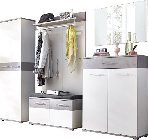 Germania 8645-531 GW-Topix Garderoben-Set, Holz, weiß  beton-optik, 40 x 280 x 199 cm