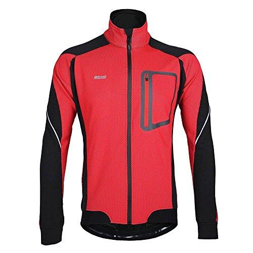"""Lixada Montaña Arsuxeo chaqueta de invierno caliente chaqueta de manga larga de ciclismo de luz de bicicleta a prueba de viento de la camiseta de la ropa, color Rojo - rojo, tamaño L(EU) = Brust 46,5"""""""