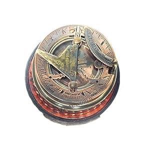 Kompass aus Messing, voll funktionsfähig, mit Sonnenuhr, Maritim, Vintage-Stil, Antik-Optik, nautische Sonnenuhr und Kompass, 7,6 cm