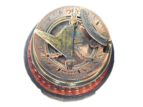 Antiques Beautiful Vintage Marine Solid Brass Push Button Sundial Compass Maritime Camping Compass Soft And Antislippery Maritime Compasses