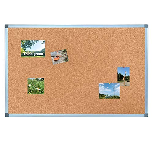 EOCO Cork Bulletin Board, Heavy Duty Corkboard for Homes or Offices, 60 x 90cm, Silver Aluminum Frame