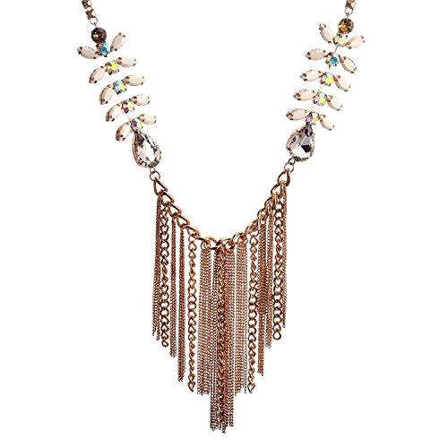 Lureme® tono oro catena forma ramo d'ulivo con nappa collana della lega per le ragazze (Tono Oro Nappa)
