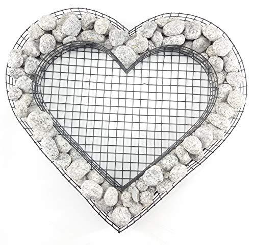 Gartenwelt Riegelsberger Herz Gitter mit kleinen Granit Royal Steinen für Allerheiligen Grabschmuck Grabgestaltung Grabdeko Pflanzschale