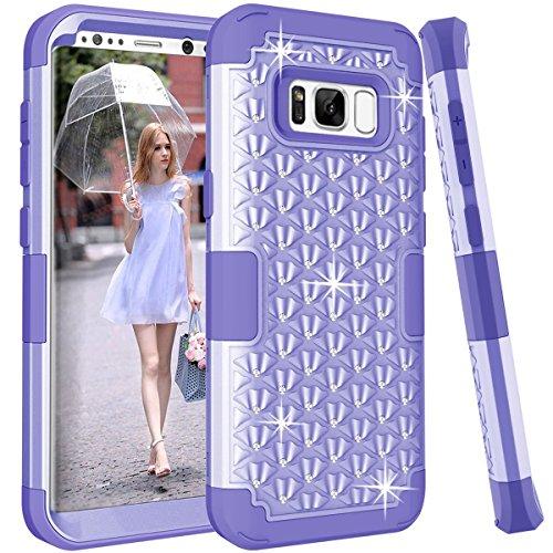 Samsung Galaxy S8Plus Fall, Galaxy S8+ Plus Case darmor 3in1Hybrid Heavy Duty stoßfest Hard PC Soft Silikon Combo Diamond Studded Bling Strass Schutzhülle Cover für Galaxy S8+ Plus, Hellviolett (D-holster Diamond)