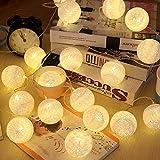 LED Cotton Ball Lichterkette Warmweiß - ELINKUME 3,3M/10,8ft 20er Baumwollkugeln Batteriebetrieben Stimmungsbeleuchtung Dekorative Beleuchtung für Balkon Fenster Party Hochzeit Weihnachten