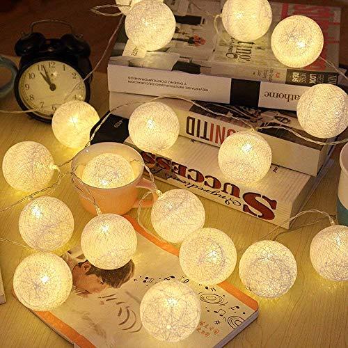 (LED Cotton Ball Lichterkette Warmweiß - ELINKUME 3,3M/10,8ft 20er Baumwollkugeln Batteriebetrieben Stimmungsbeleuchtung Dekorative Beleuchtung für Balkon Fenster Party Hochzeit Weihnachten)