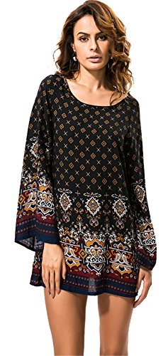 Langarm Barock Ethnisch Stammes Afrikanische Aztekisch Paisley Mini Minikleid Babydoll Hängerkleid Trapez Mutterschaft Kleid Schwarz XL