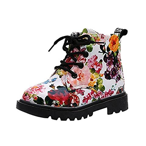 FriendG Girls Fashion Floral Kids Shoes Baby Martin Boots Casual Children Boots (UK:8.5, White)