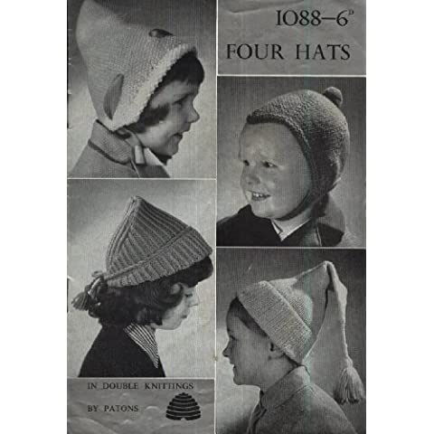Vintage Patons 1088 Knitting Pattern : Four Childrens Hats : Jelly Bag/Dutch/Elfin/Canterbury Bell (Patons DK)