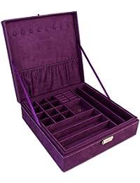 Blushbees Twin Layer Velvet Jewelry Storage Box Organizer With Lock