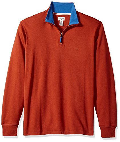 Dockers Men'sInterlock Quarter Zip Long Sleeve Sweater, Arabian Spice, Small Arabian Sweatshirt