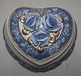 Blau-weiße Keramik Herz-Dose mit Deckel und Rosendekor - Schmuckdose