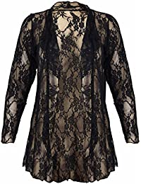 New Womens Plus Size Floral Pattern Lace Cardigan Long Sleeve Womens Waterfall Open Top