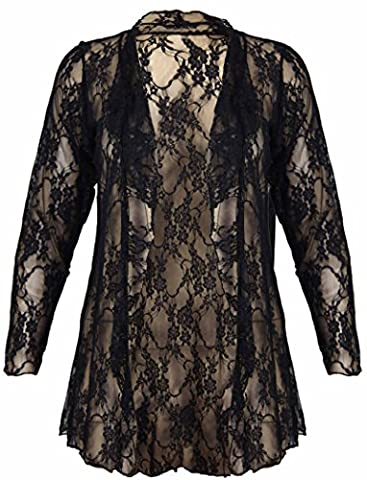 New Womens Plus Size Floral Pattern Lace Cardigan Long Sleeve Womens Waterfall Open Top Black Size