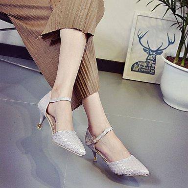 LvYuan Da donna Sandali PU (Poliuretano) Primavera Estate Fibbia A stiletto Bianco Nero Grigio 5 - 7 cm gray