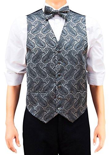 Retreez Herren Kunst der Paisley Woven Weste W/Krawatte, Fliege, Pocket Geschenk-Box Set, quadratisch Silber Auf Schwarz