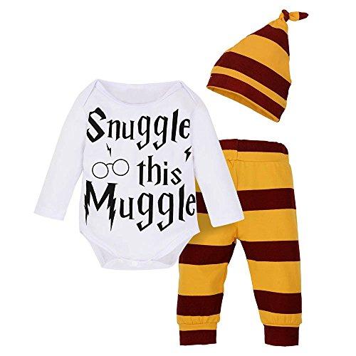 Weant Halloween Kostüm Baby Jungen Mädchen Neugeborenen Bodysuit Body und gestreifter Hose Outfit mit Mütze. (0-3 monate, Weiß) (Kleinkind Socke Affe Kostüme)