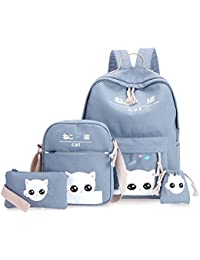 85da8db4a Espeedy 4 piezas/Set moda coreano mujeres mochila lienzo precioso gato  estampado de dibujos animados bolsas de…