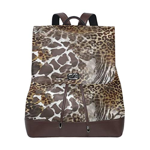 AIMILUX Sombrero Leopardo Cebra Tigre Cocodrilo Piel de Animal Patrón de Las Artes,Mochila de Estudiante Retro Bolso de Cuero Bolso Casual de Mujer