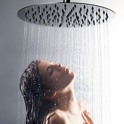Duschkopf Regendusche Einbauduschköpfe Kopfbrause Regenbrause mit Anti-Kalk-Düsen Edelstahl poliert Spiegeleffekt Hochglänzend 10 Zoll- rund