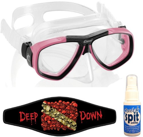 Cressi Focus Scuba Dive Mask, with Mask Strap & Antifog, Clear/Pink