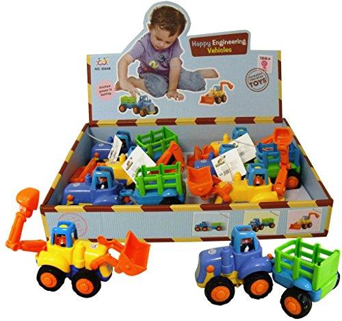 Louis Kuenen 10169 - Babyfahrzeuge Bagger oder Traktor mit Anhänger, Sortiert - Schwungrad-auto