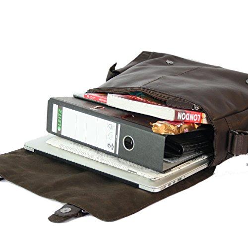 FEYNSINN® Messenger bag ASHTON - Herren Umhängetasche XL groß Ledertasche fit 15.4 Zoll Laptop - Laptoptasche Herrentasche echt Leder grau braun