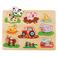 Lelin Wooden Farm Animals Peg Puzzle