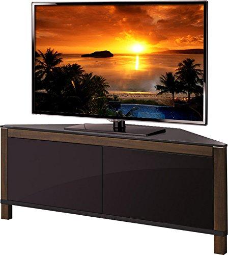 MDA Designs Volans Meuble TV Faisceau Thru Verre Noyer/noir réversible Panneau LCD/Plasma/LED 2 portes Meuble TV d'angle