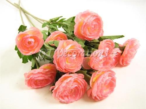 4fiori di seta artificiale Ranunculus spruzza da GT decorazioni Pink
