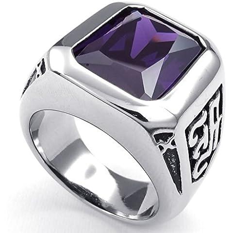 Acero Inoxidable Anillo de Hombre Cristal Plateado Púrpura Gótico Clásico por AieniD