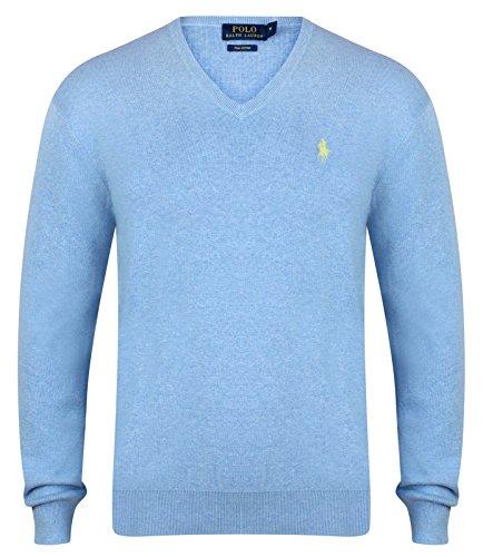 Ralph Lauren Herren Pullover Hellblau - V-Neck (M) (Lauren Ralph V-neck Pullover)