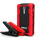 Gooloo 600A peak 15000�mAh car jump starter (up to 6�L petrol or 4.5 L diesel engine), portable power pack, battery booster, car phone charger with dual quick charge output, built-in LED light,�black and red