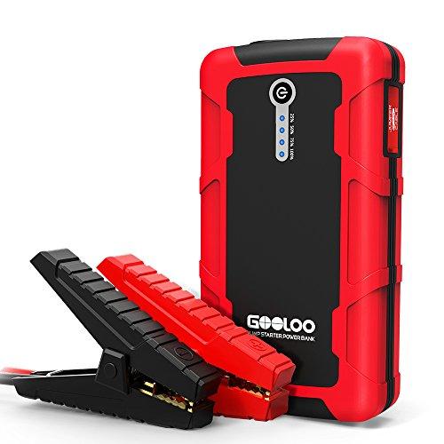 Tragbare Starthilfe, GOOLOO 12V 600A Spitzenstrom 15000mAh Auto Starthilfe Dual Quick Charge Ausgang Auto Akku Booster mit Taschenlampe, Akuu Ladegerät für Smartphone, iPhone,Android,iOS(bis zu 6.0L Gas oder 4.5L Diesel Motor)