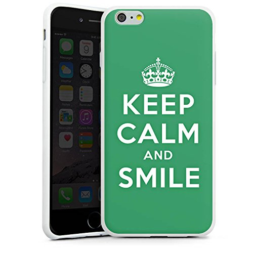 Apple iPhone X Silikon Hülle Case Schutzhülle Keep Calm and Smile Sprüche Grün Silikon Case weiß