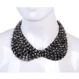 Grey Faceted Glass Bead Peter Pan Faux Collar Dress Accessory Fashion Punk