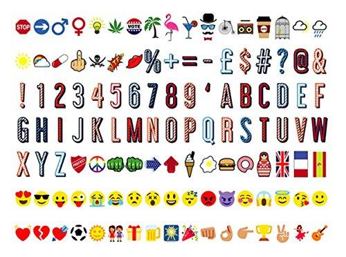 Ai-life 119 Stück DIY Dekorativ Farbe Buchstabe-Karte Symbole Nummern Graph Ergänzungsset für A4 Gestaltbar Cinematic Light Box, Ergänzungsset Celebrations für Urlaub Dekoration Symbole