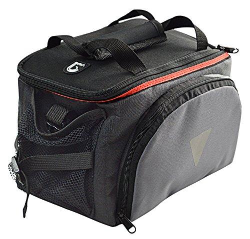 Biria Gepäckträgertasche hinten mit einziehbaren Seitentaschen und Regenabdeckung, Fahrrad Gepäckträgertasche Mezano