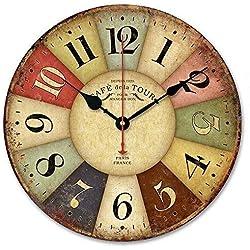 Alicemall Pendule Murale en Bois Décoration Industrielle Design Horloge Murale Silencieuse Style Vintage (1)