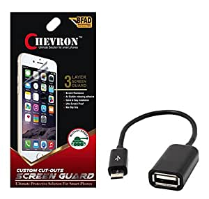 Chevron Ultra Clear HD Screen Guard Protector For Micromax Bolt A67 With Micro OTG Cable
