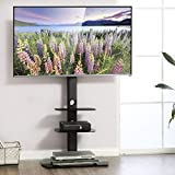 FITUEYES Cantilever Glass TV Stand with Swivel Mount for 32-65 inch LED LCD 3 Shelves,Height AdjustableTT306502GB
