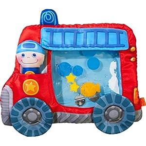 HABA 303820 – Wasserspielmatte Feuerwehr | Wasserbefülltes Baby-Spielzeug mit Schwimmelementen, Quietschelement und herausnehmbarer Figur | Ab 6 Monaten