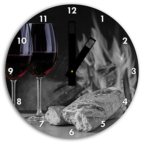 Stil.Zeit Baguette Vino Wein Alkohol Picknick schwarz/weiß, Wanduhr Durchmesser 30cm mit schwarzen eckigen Zeigern und Ziffernblatt -