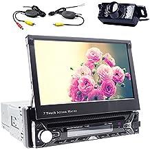 7pulgadas Touch pantalla desmontable Bluetooth coche GPS Navigation Player One Din coche estéreo DVD CD Reproductor de audio USB SD FM AM 1unidad central control de volante DIN Radio de coche con GPS Mapa libre cámara trasera