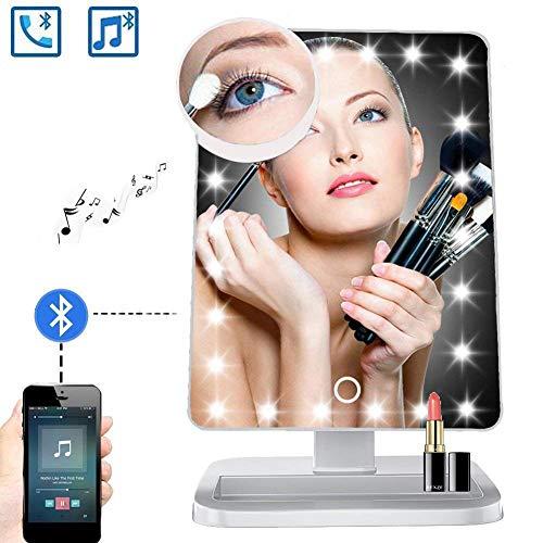 (Rziioo Schminkspiegel Mit Bluetooth - 20 LED-Leuchten Kosmetikspiegel, 180 ° -Rotationsspiegel Mit Beleuchtung,D)