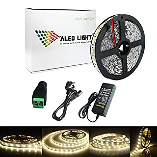 ALED LIGHT 5M 5050 Natural White 300 LED Strip Lights Full Kit With 6A UK Power Supply +Free Connector.Ideal for Home and Kitchen Lighting. (Non-waterproof)
