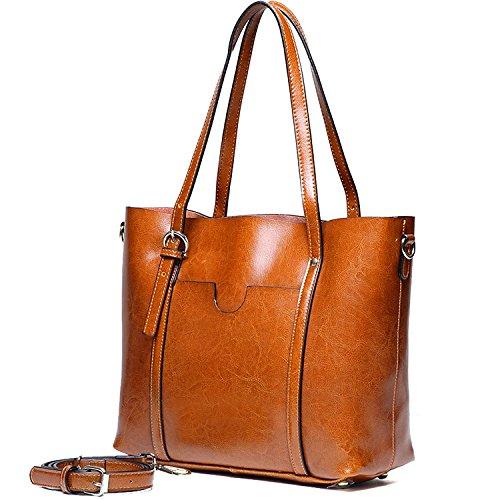 YALUXE Borsa a spalla in vera Pelle stile Vintage Tote bag Grande borsa a tracolla per lavoro
