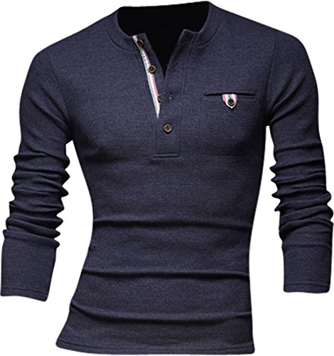 Jeansian Hommes Pull Tendance Chemise Slim Fit Men Fashion Manches Longues Sweater 8832 Navy