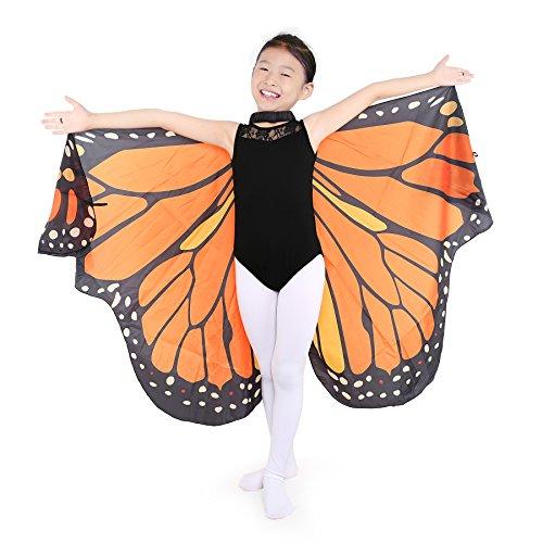 Dance Fairy Schmetterling Flügel Umhang Weiche zum Tanzen Kostüm Zubehör Kinder und Erwachsene, Orange-passend 100cm-160cm (Flügel-kragen Tragen)